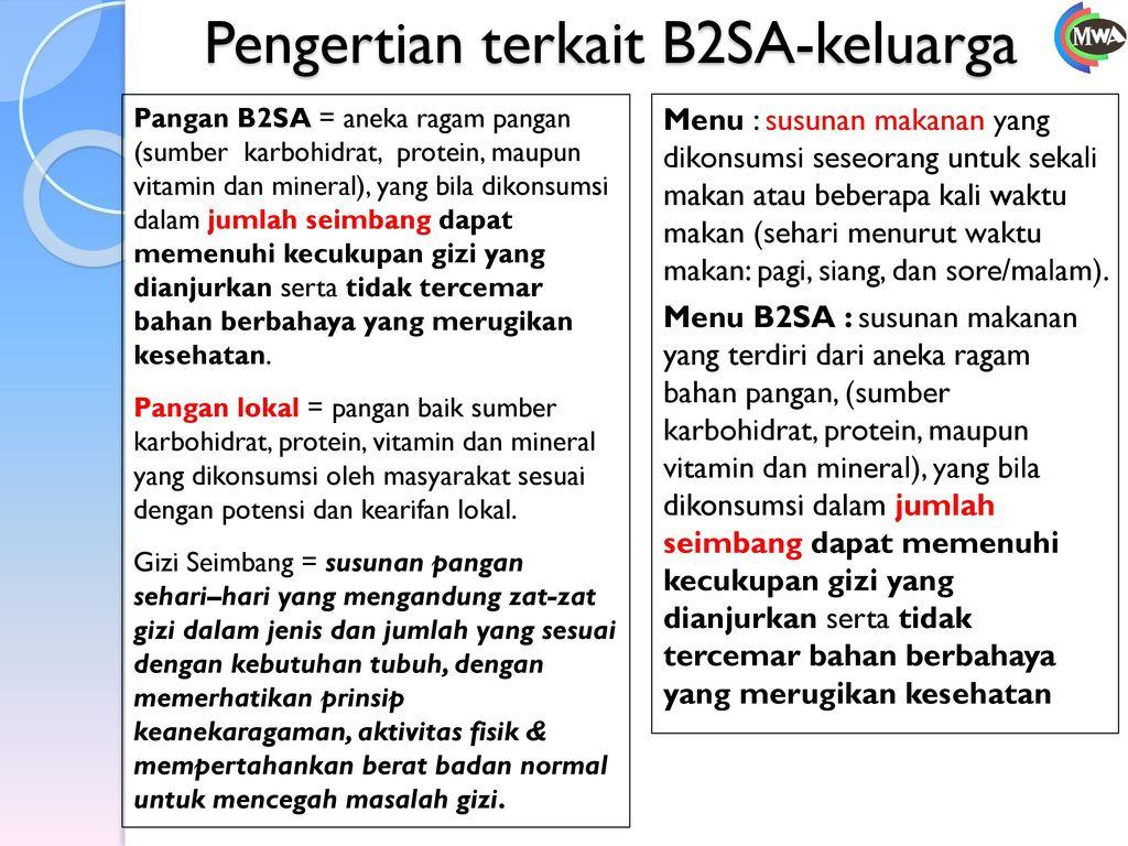 Pengertian terkait B2SA-keluarga