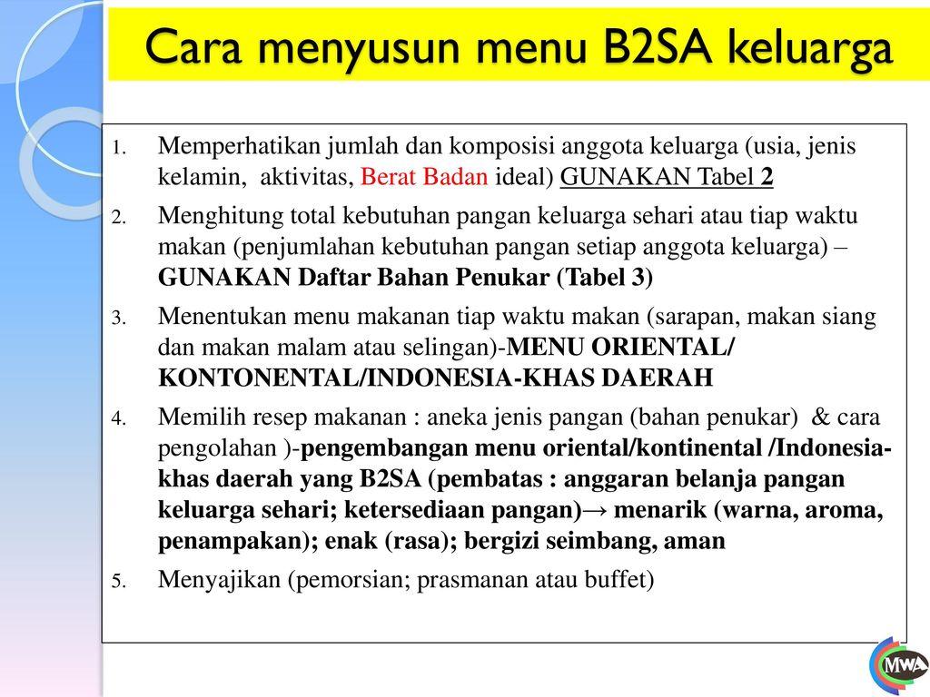Cara menyusun menu B2SA keluarga