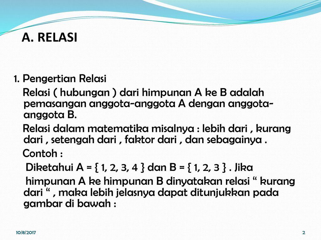 Relasi dan fungsi pertemuan ii kalkulus nina hairiyah s m a relasi ccuart Choice Image