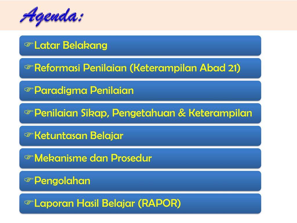Agenda: Latar Belakang Reformasi Penilaian (Keterampilan Abad 21)