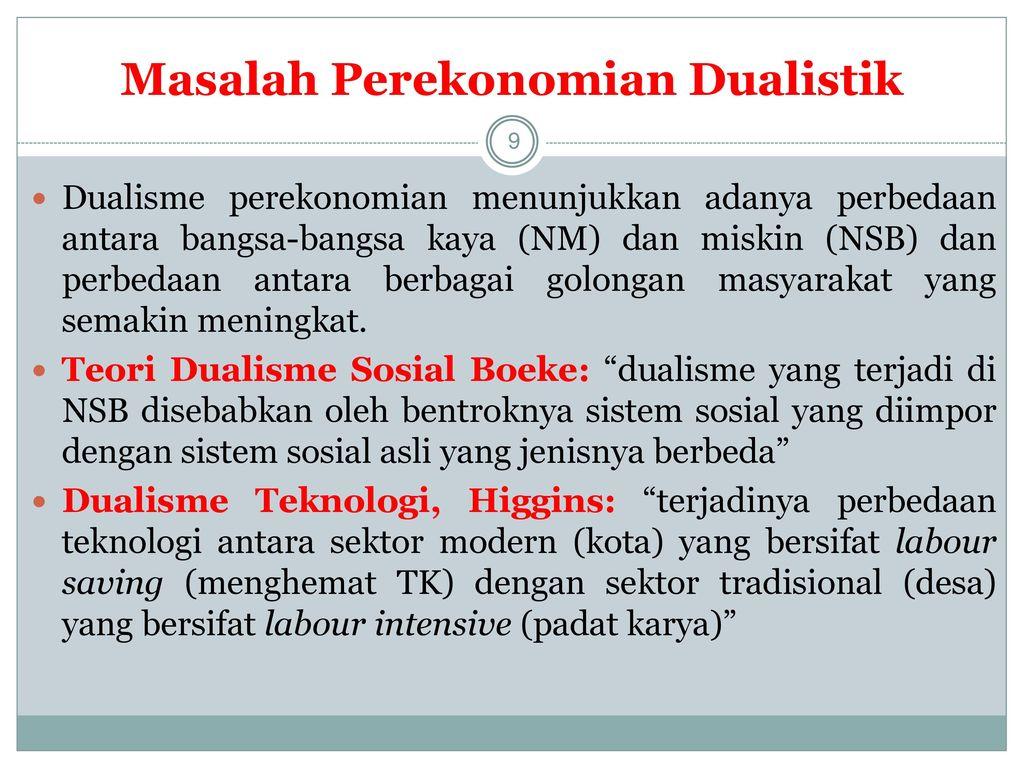 Masalah Perekonomian Dualistik