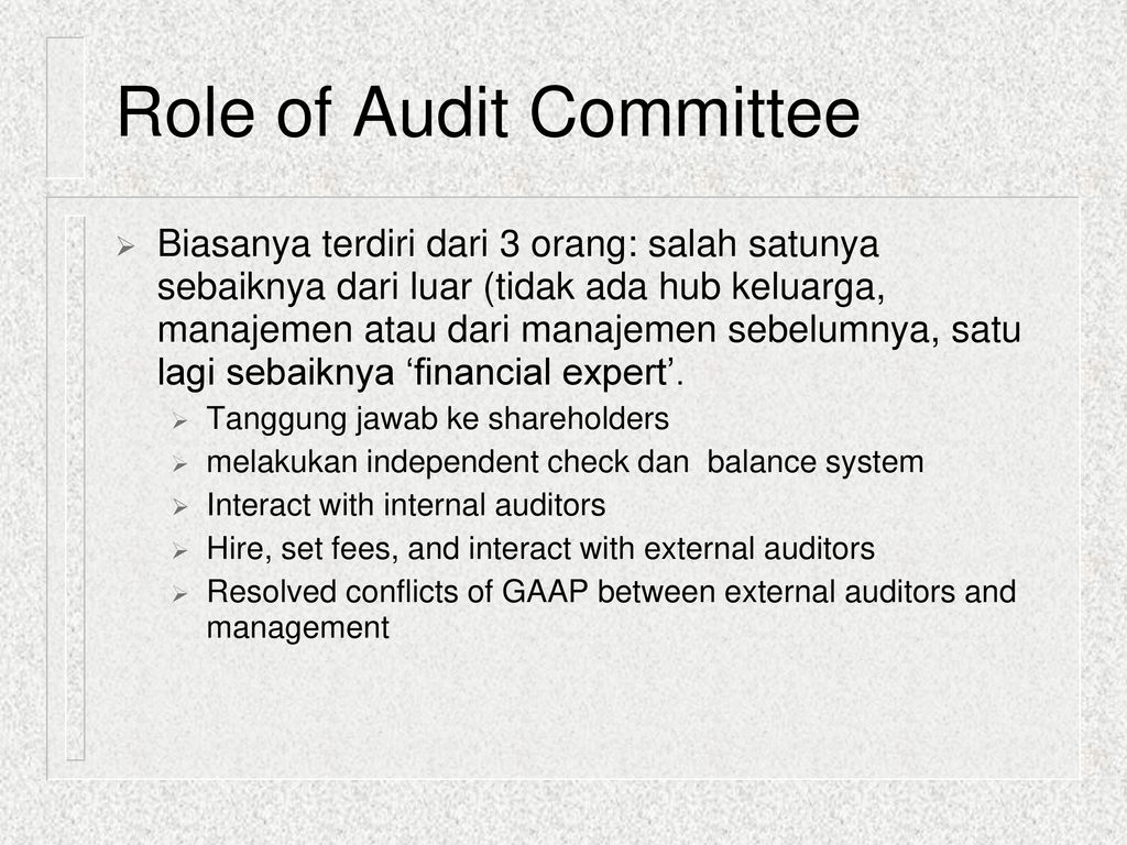 auditing and audit committee policy Independence requirement for members of the audit committee risk policies and to any audit conducted by the firm the committee will also.
