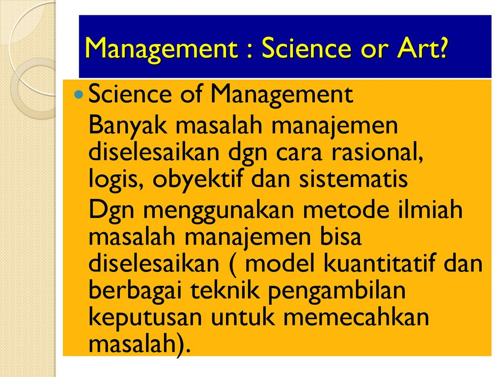 is management science or art There's an art to taking a project management approach to cyber security, which combines people and processes choosing the right project manager is key.