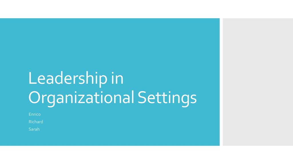 leadership in organizations yuki