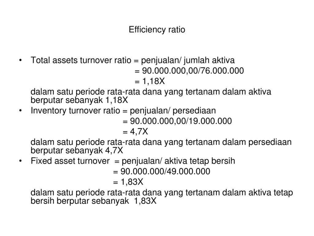 Efficiency ratio Total assets turnover ratio = penjualan/ jumlah aktiva. = ,00/
