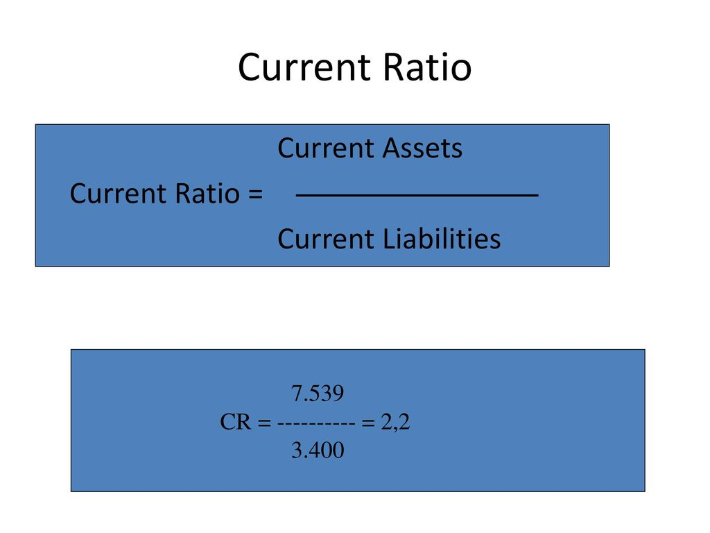 Current Ratio Current Assets Current Ratio = Current Liabilities 7.539