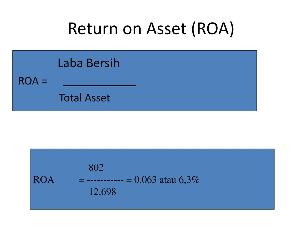 Return on Asset (ROA) Laba Bersih ROA = Total Asset 802