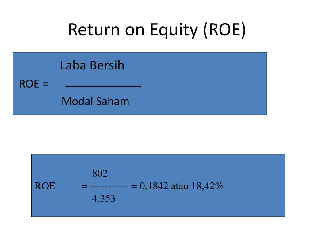 Return on Equity (ROE) Laba Bersih ROE = Modal Saham 802