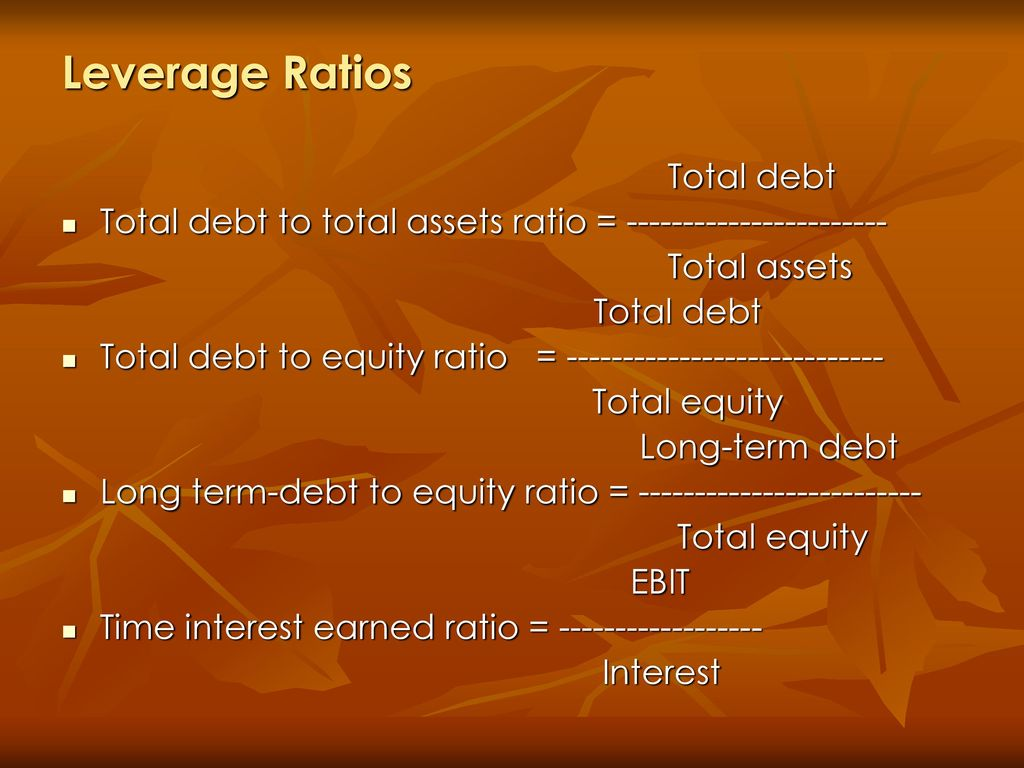 Leverage Ratios Total debt