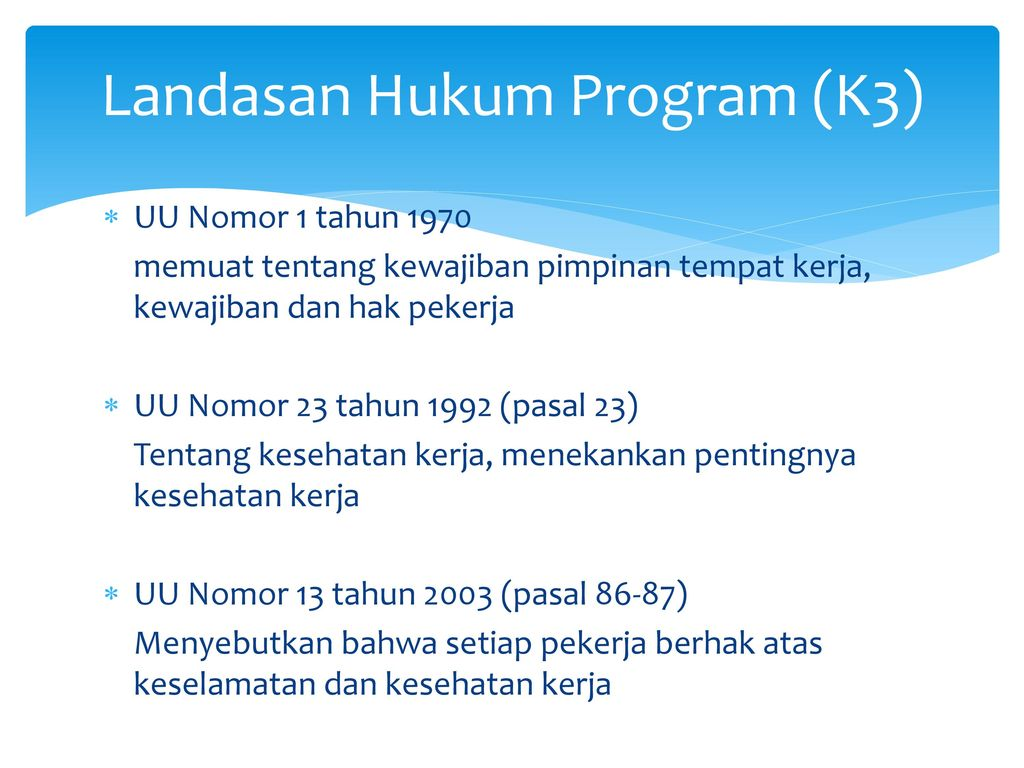 Landasan Hukum Program (K3)