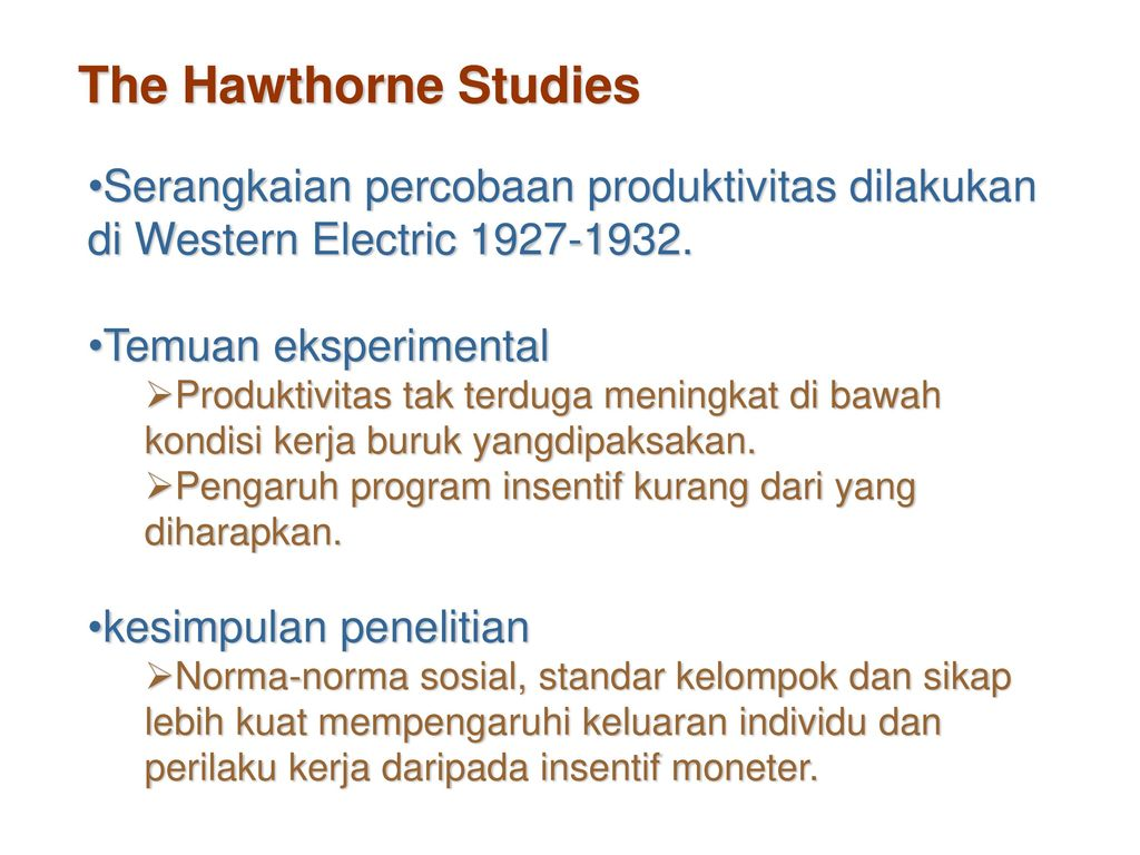 the hawthorne studies a summary