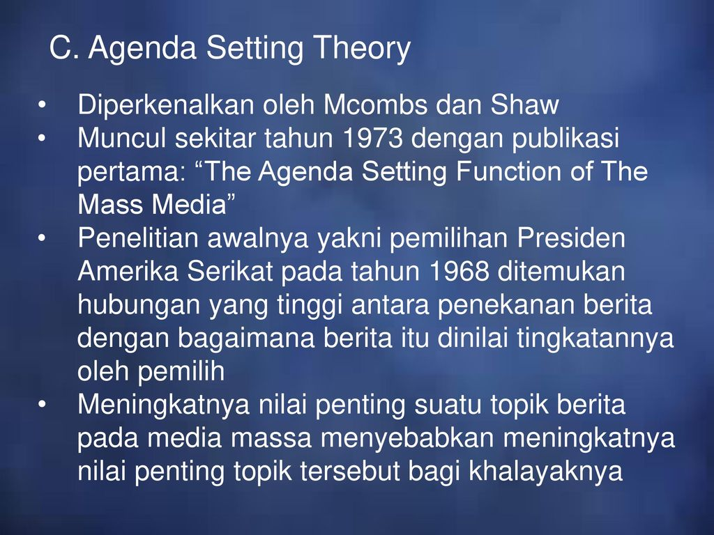 agenda setting theory the world outside Start studying agenda setting theory: chapter 30 learn vocabulary, terms, and more with flashcards, games, and other study tools.