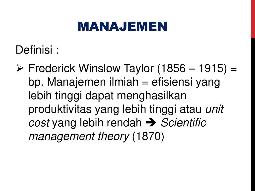 management theorist frederick winslow taylor essay Over 180,000 frederick w taylor essays  w taylor frederick winslow taylor: business management theory of management that.