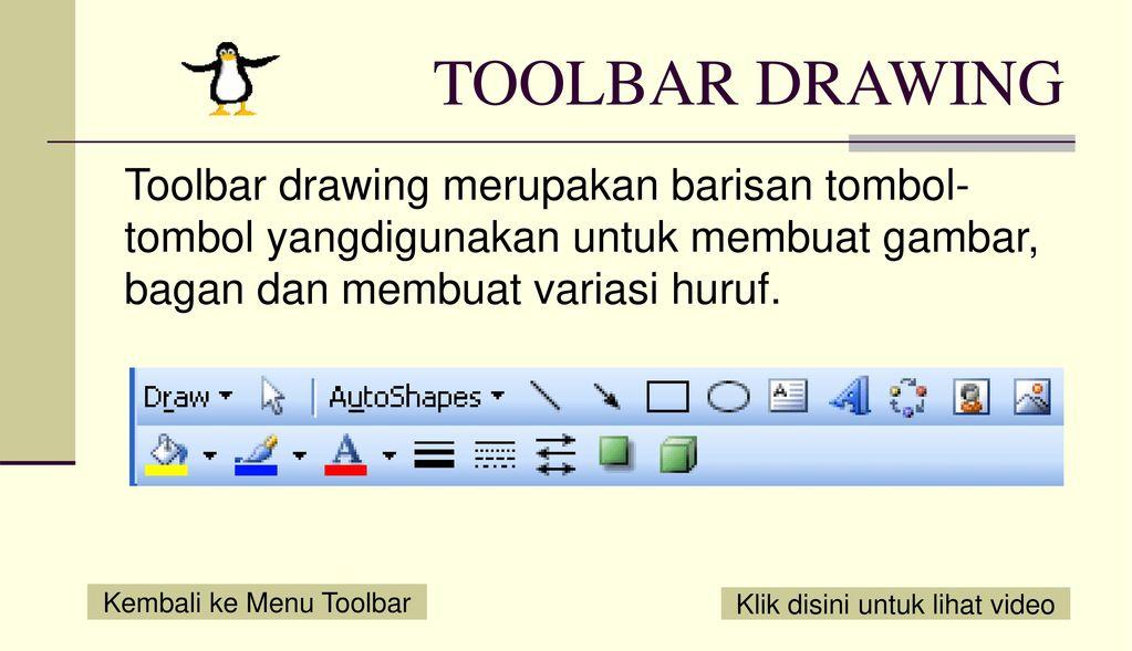 TOOLBAR DRAWING Toolbar drawing merupakan barisan tombol-tombol yangdigunakan untuk membuat gambar, bagan dan membuat variasi huruf.