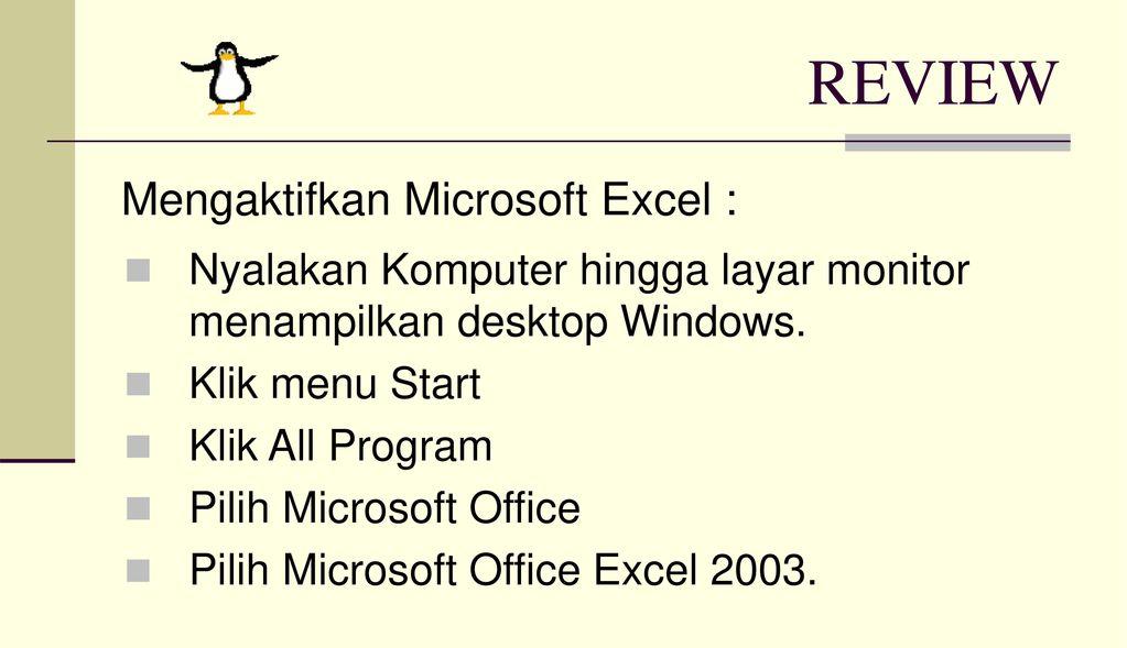 REVIEW Mengaktifkan Microsoft Excel :