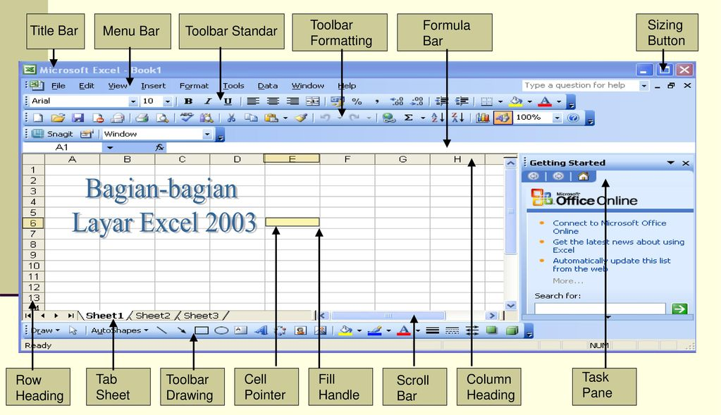 Bagian-bagian Layar Excel 2003 Toolbar Formatting Formula Bar Sizing