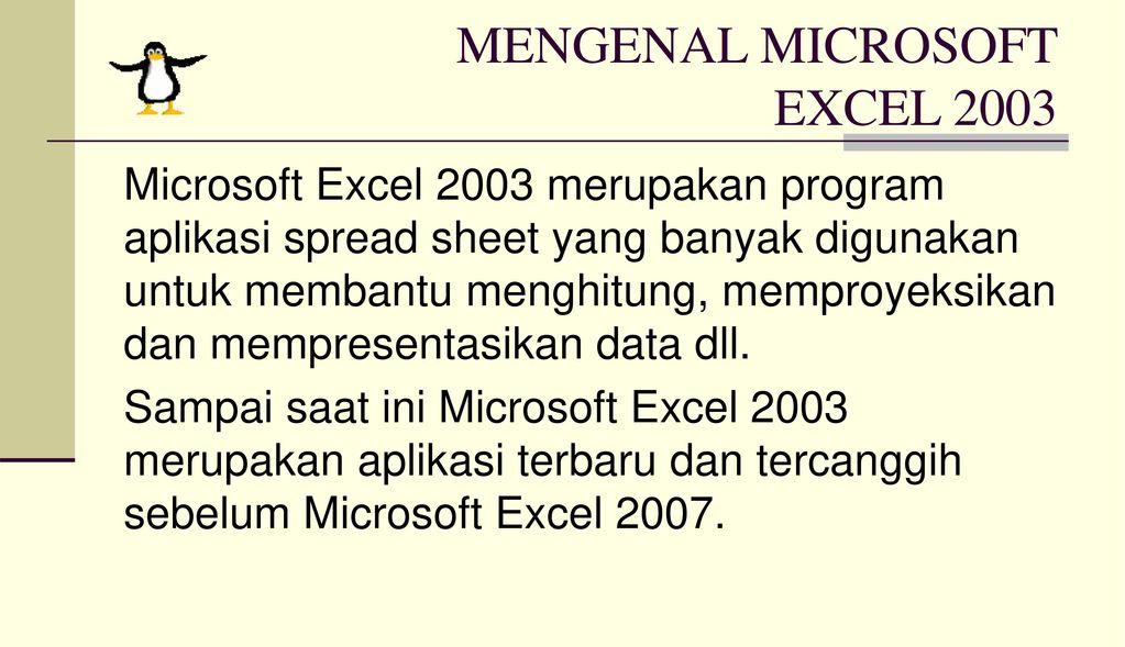 MENGENAL MICROSOFT EXCEL 2003