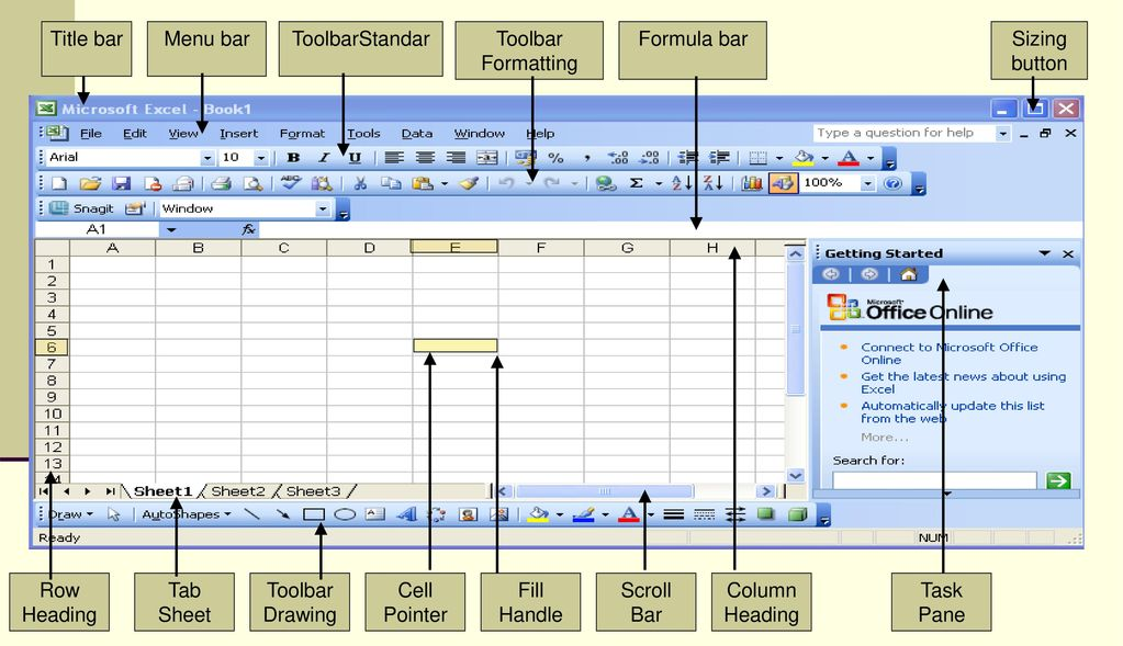 Title bar Menu bar. ToolbarStandar. Toolbar Formatting. Formula bar. Sizing button. Row Heading.