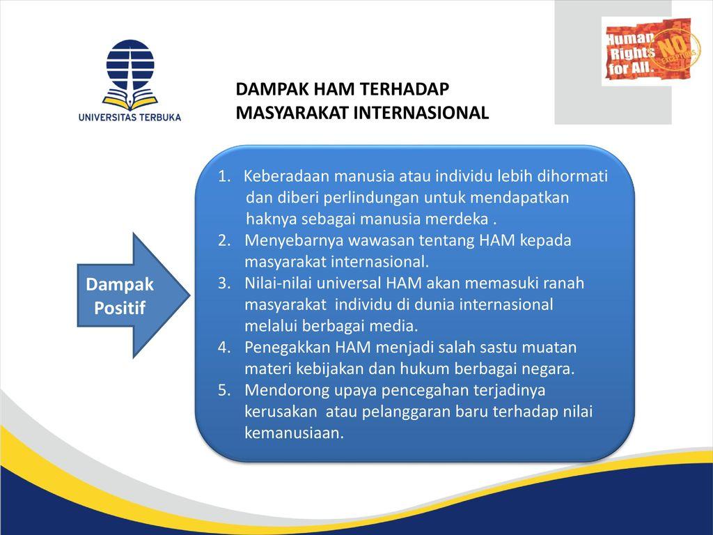 DAMPAK HAM TERHADAP MASYARAKAT INTERNASIONAL