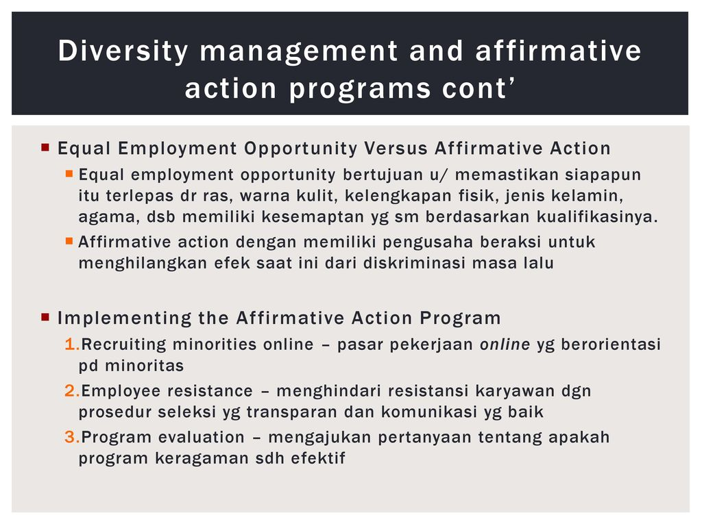 affirmative action vs equal opportunity