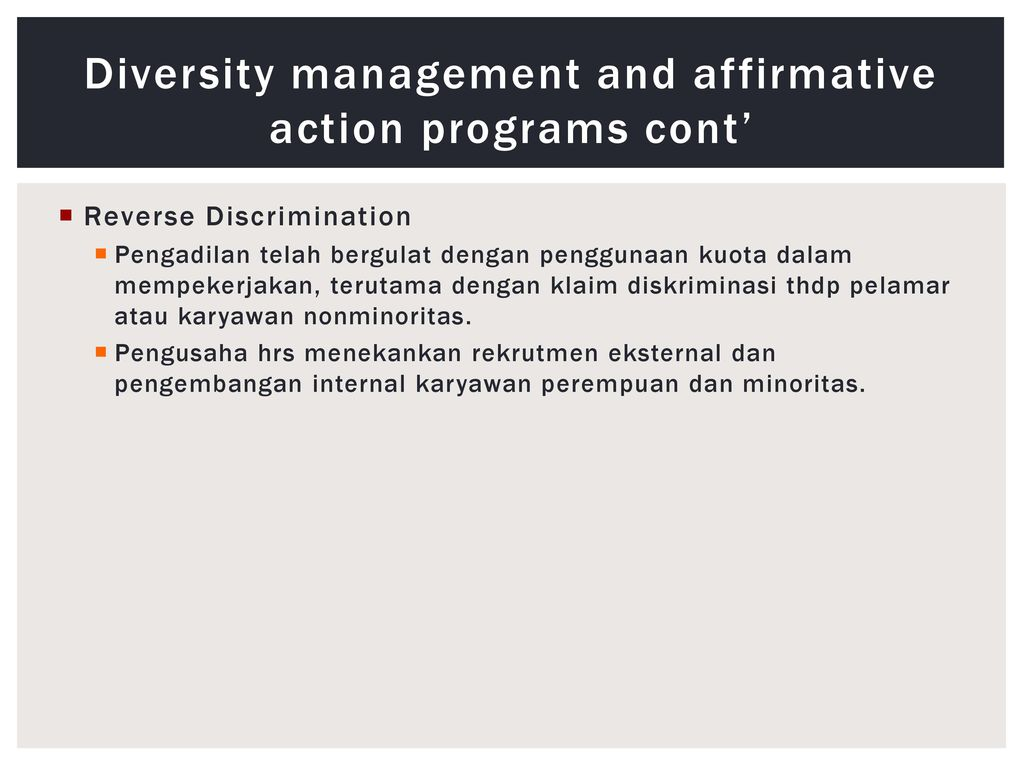 the question of whether affirmative action is reverse discrimination Is affirmative action racism there is no such thing as reverse racism racism is racism whether it is aimed instead of affirmative action why don't we.