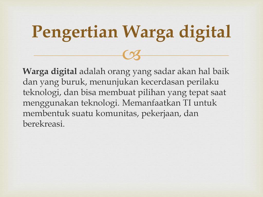 Pengertian Warga digital