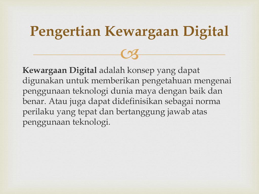 Pengertian Kewargaan Digital