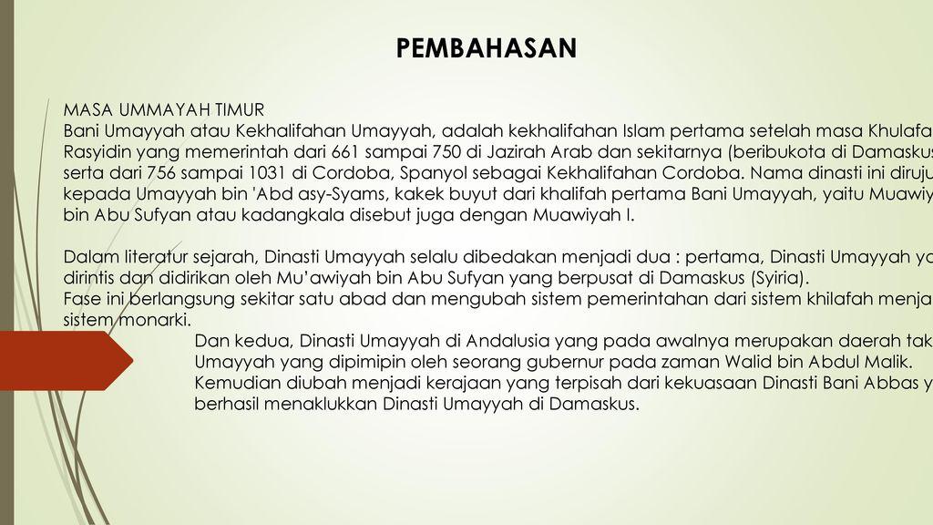 PEMBAHASAN MASA UMMAYAH TIMUR