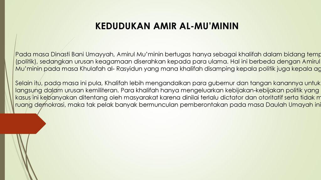 KEDUDUKAN AMIR AL-MU'MININ