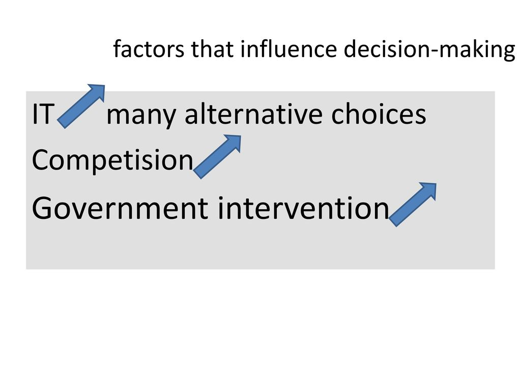 factors that influence decision making Sometimes social influences and societal pressures can influence decision making for the better and sometimes for the worse in addition to these pressures, there are risks that need to be evaluated and measured when making.