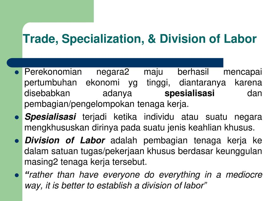 specialization in trade Thus each country would export the good in which they have a comparative advantage trade flows would increase until specialization and trade will increase the.