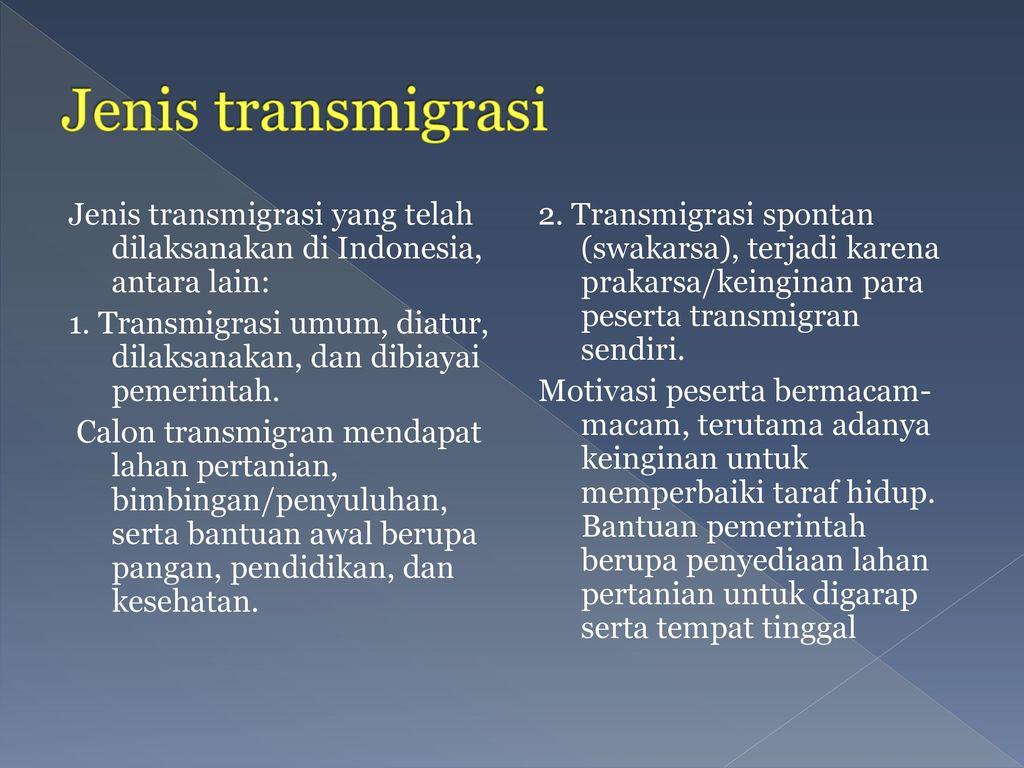 Jenis transmigrasi