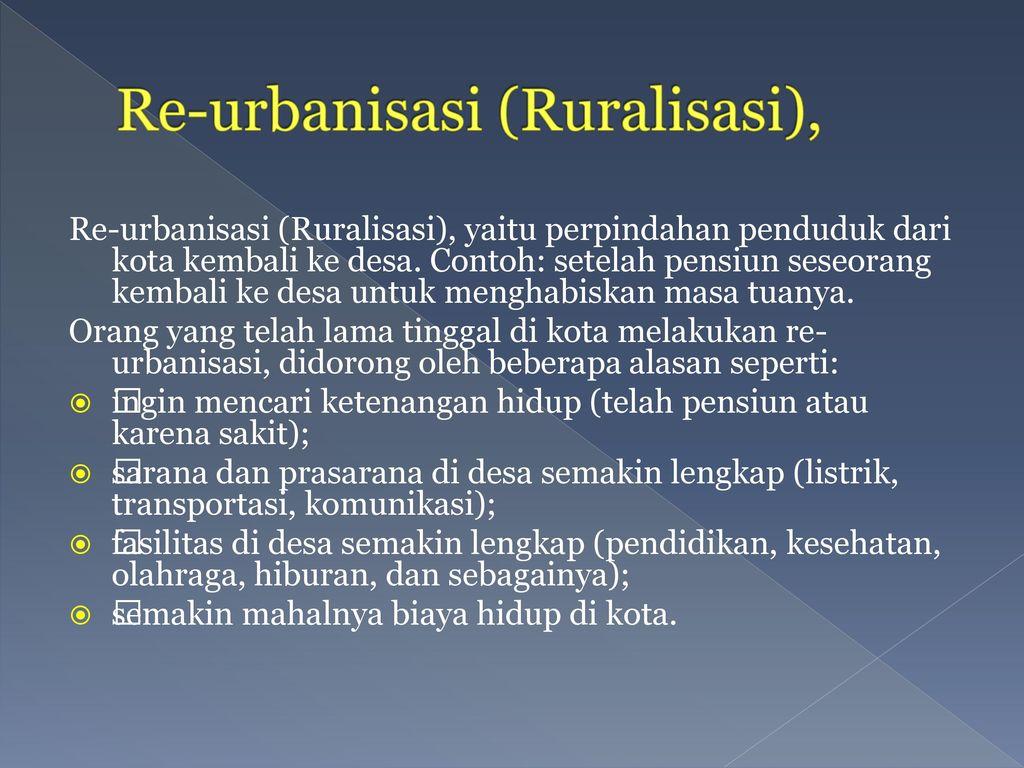 Re-urbanisasi (Ruralisasi),
