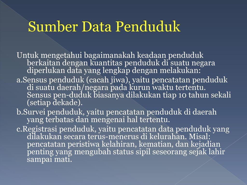 Sumber Data Penduduk