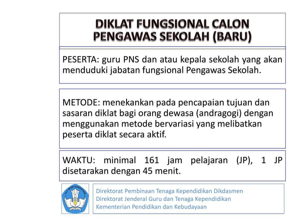DIKLAT FUNGSIONAL CALON PENGAWAS SEKOLAH (BARU)