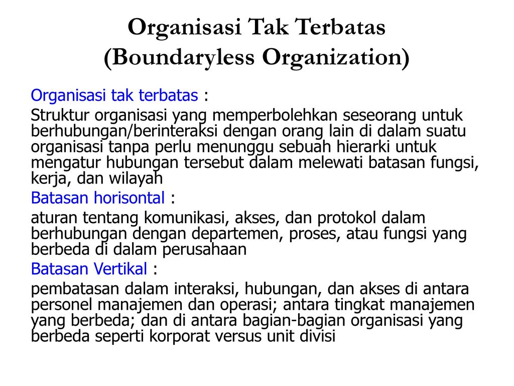 boundryless org Chapter 15: foundations of organization structure what are you responsible to learn § identify the six key elements that define an organization's structure.