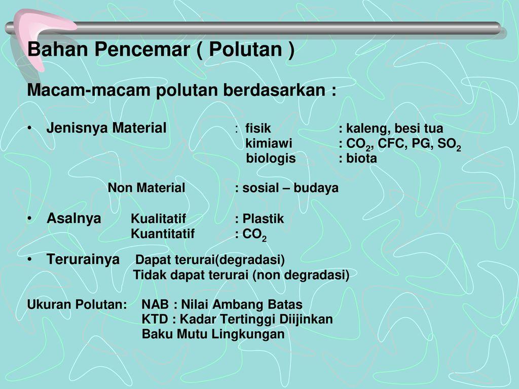 Bahan Pencemar ( Polutan )