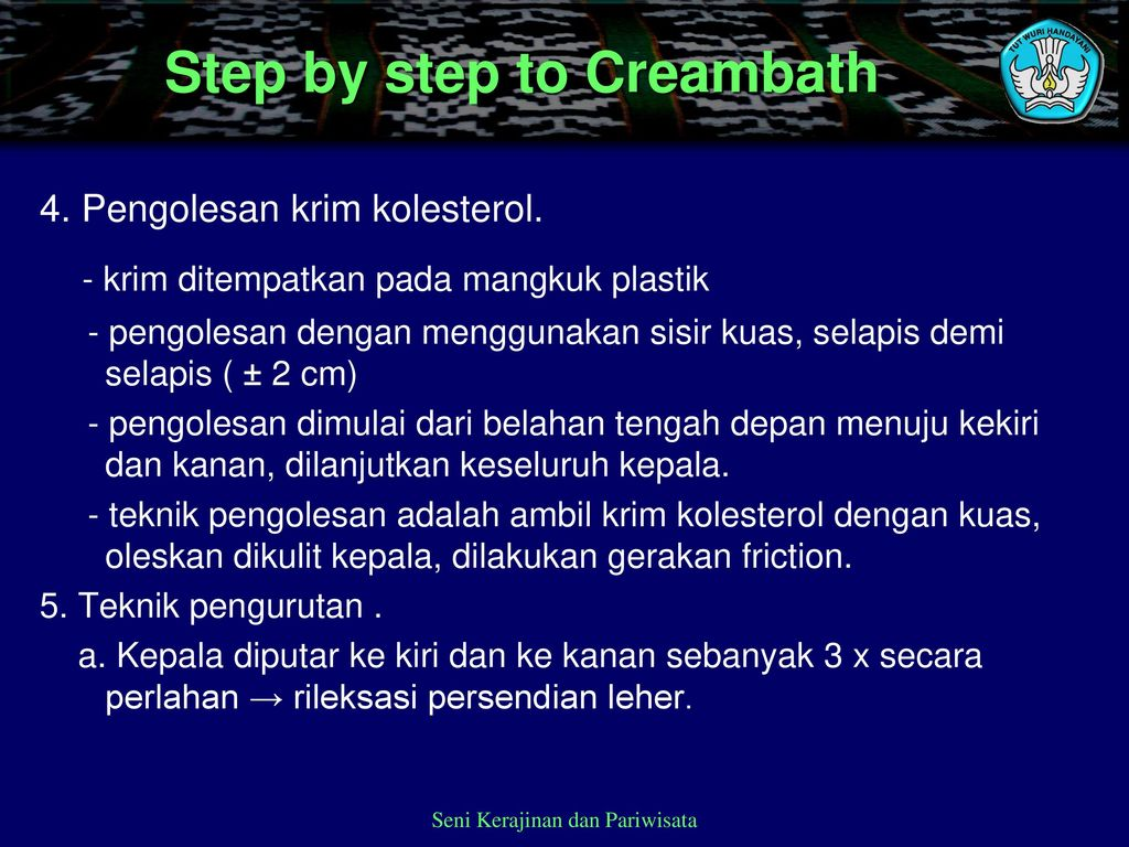 Step by step to Creambath