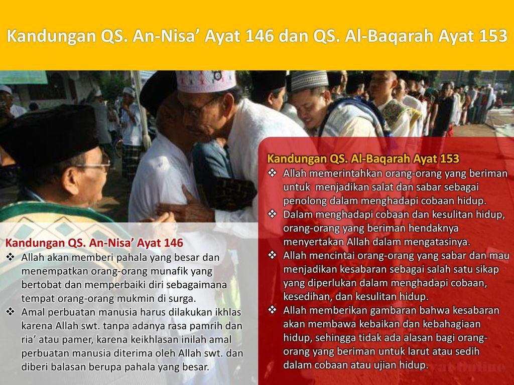 Kandungan QS. An-Nisa' Ayat 146 dan QS. Al-Baqarah Ayat 153
