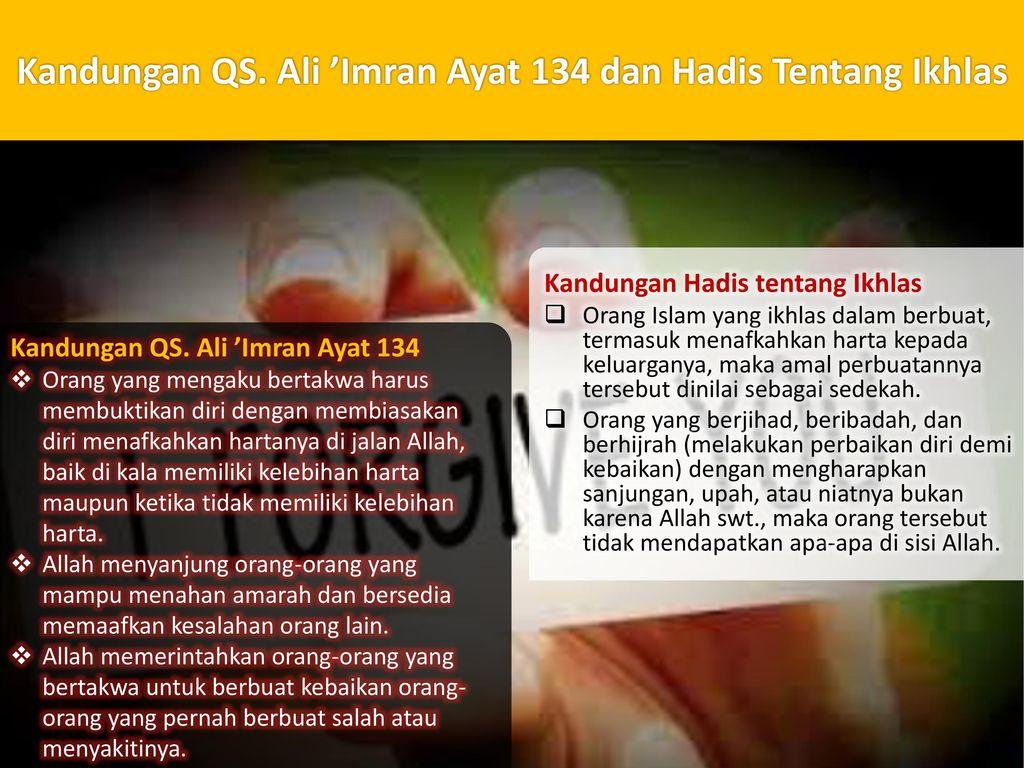 Kandungan QS. Ali 'Imran Ayat 134 dan Hadis Tentang Ikhlas