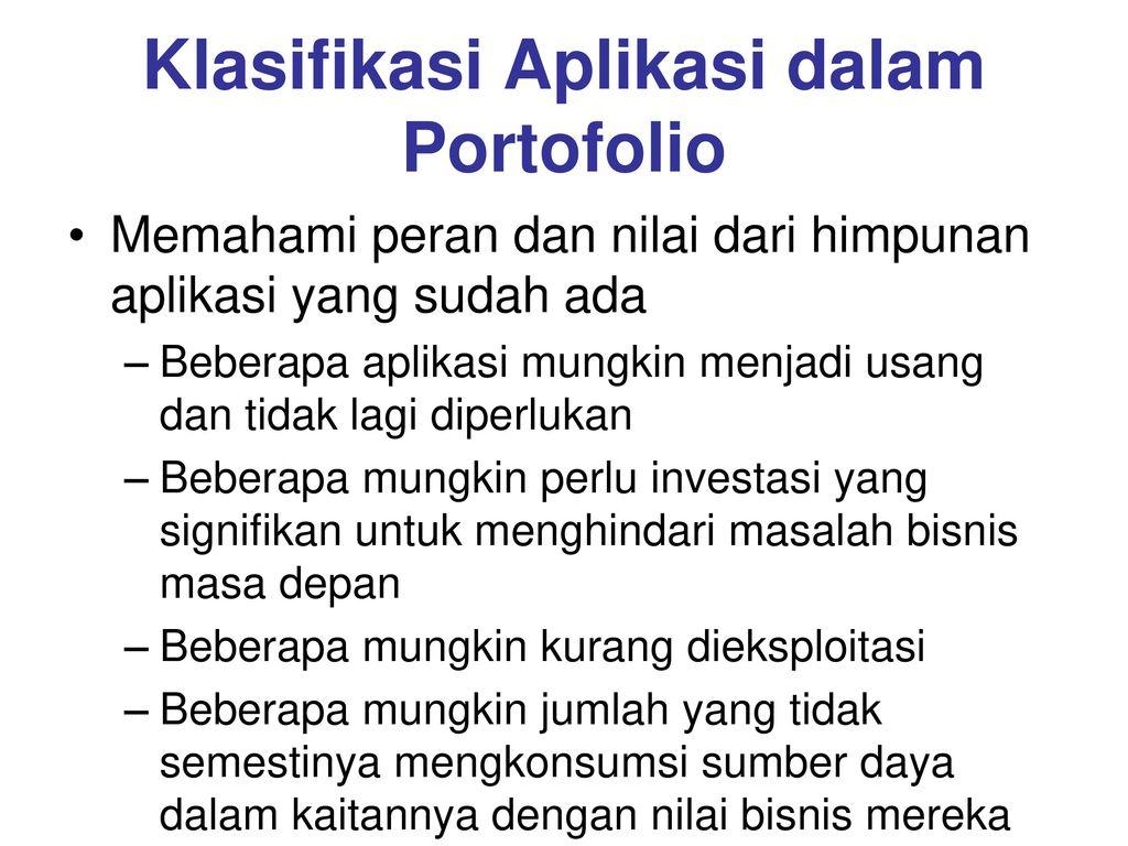 Klasifikasi Aplikasi dalam Portofolio