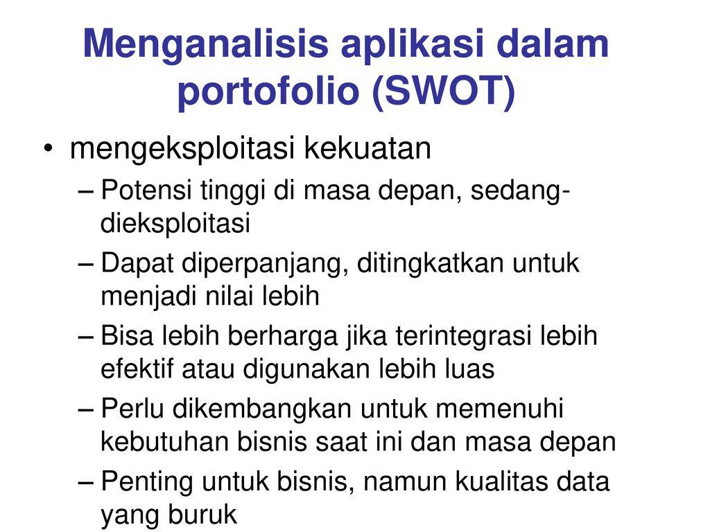 Menganalisis aplikasi dalam portofolio (SWOT)