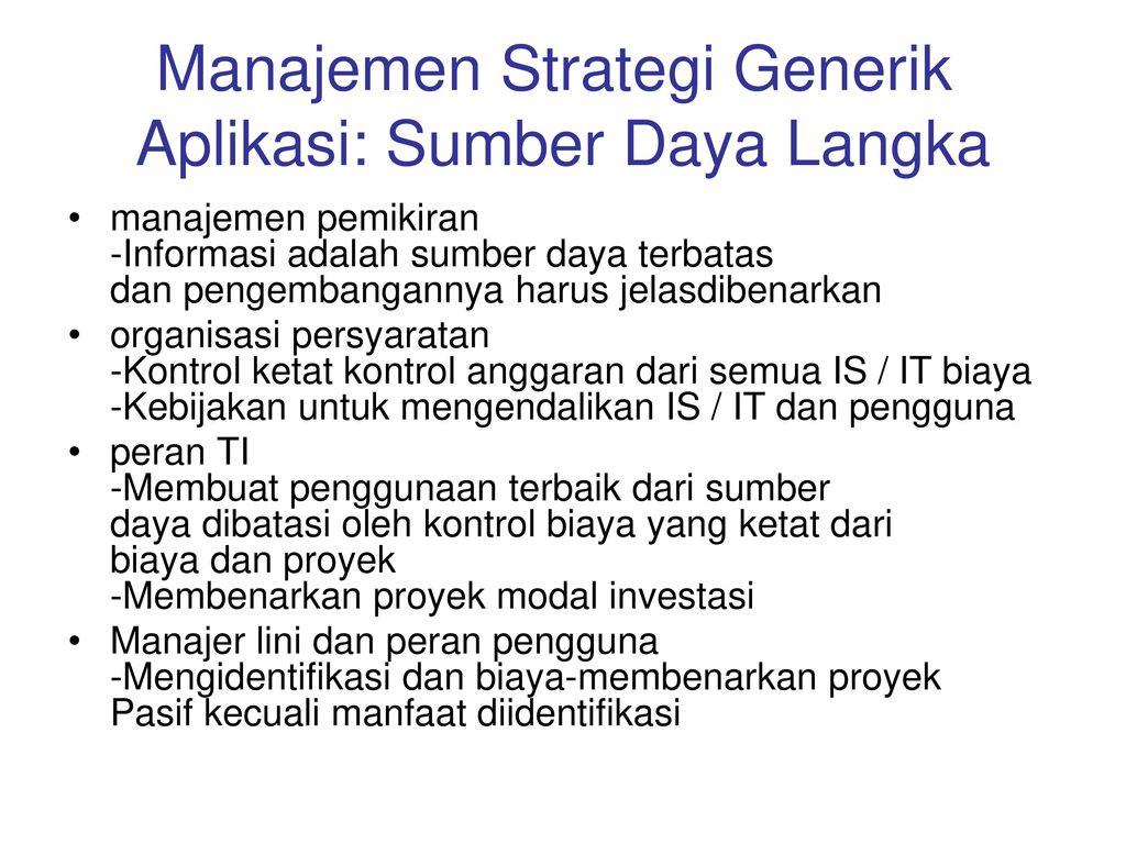 Manajemen Strategi Generik Aplikasi: Sumber Daya Langka