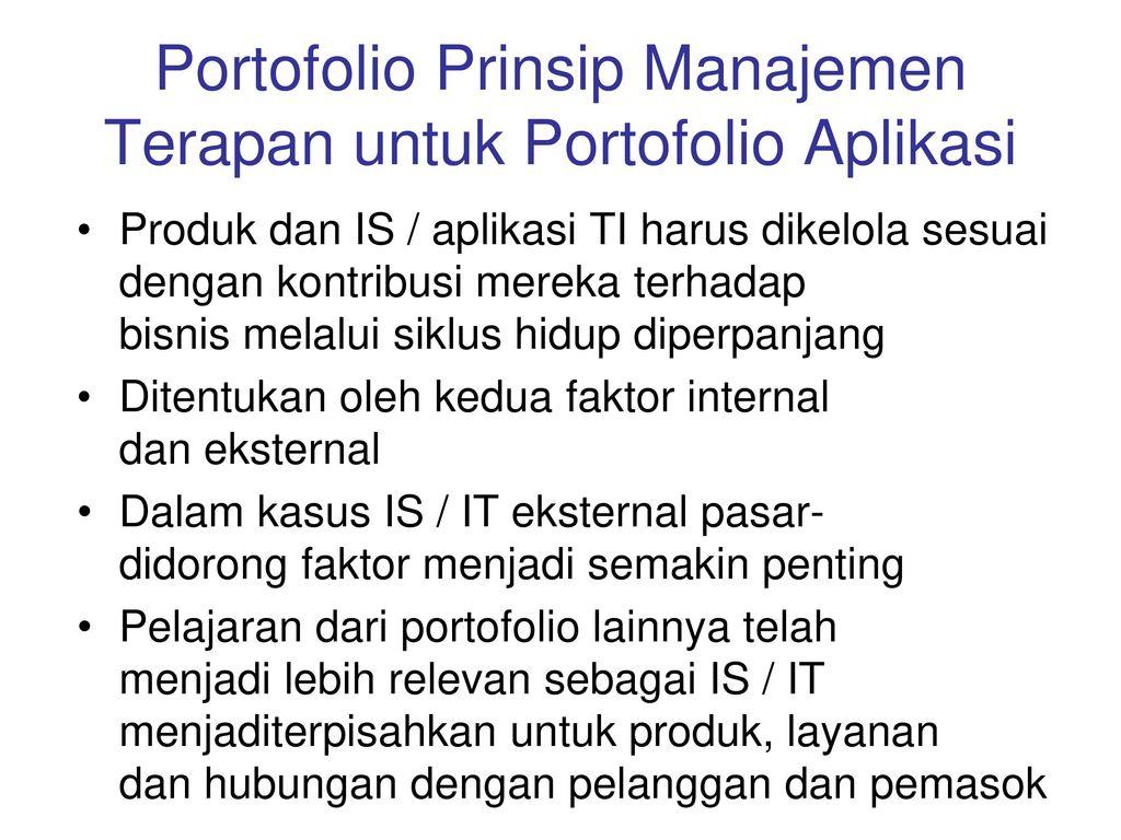 Portofolio Prinsip Manajemen Terapan untuk Portofolio Aplikasi