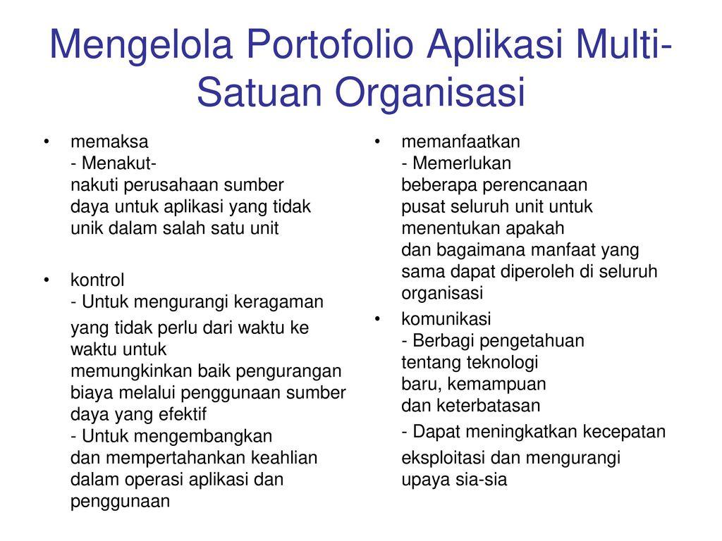 Mengelola Portofolio Aplikasi Multi-Satuan Organisasi