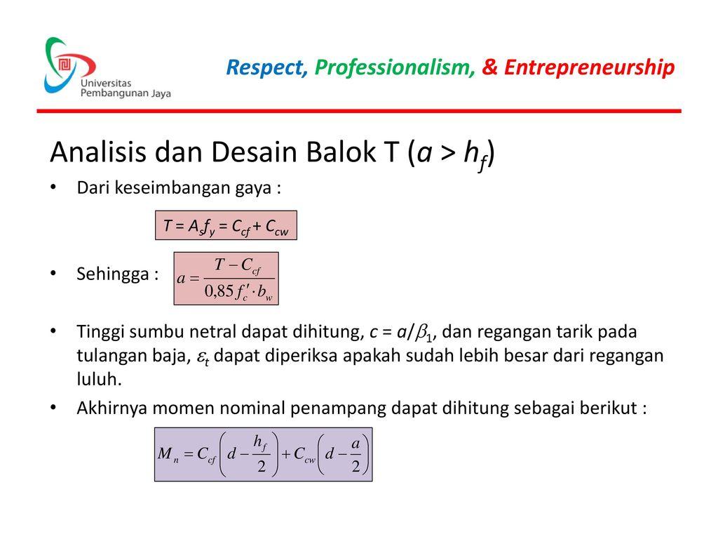 Analisis dan Desain Balok T (a > hf)