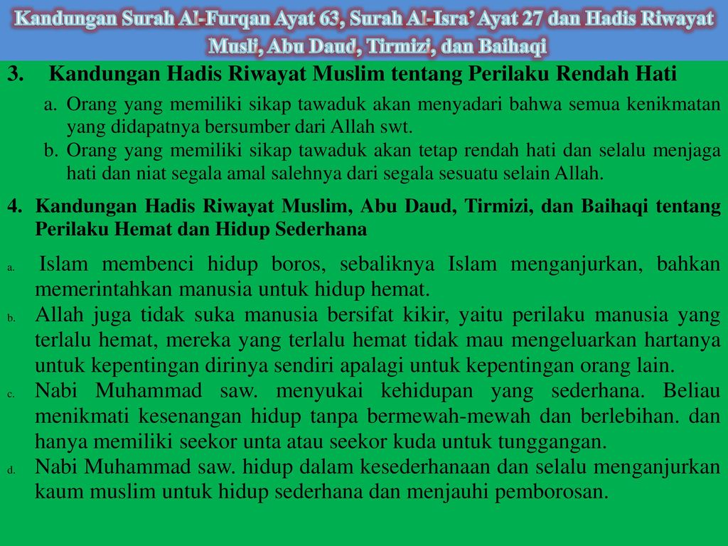 Kandungan Hadis Riwayat Muslim tentang Perilaku Rendah Hati