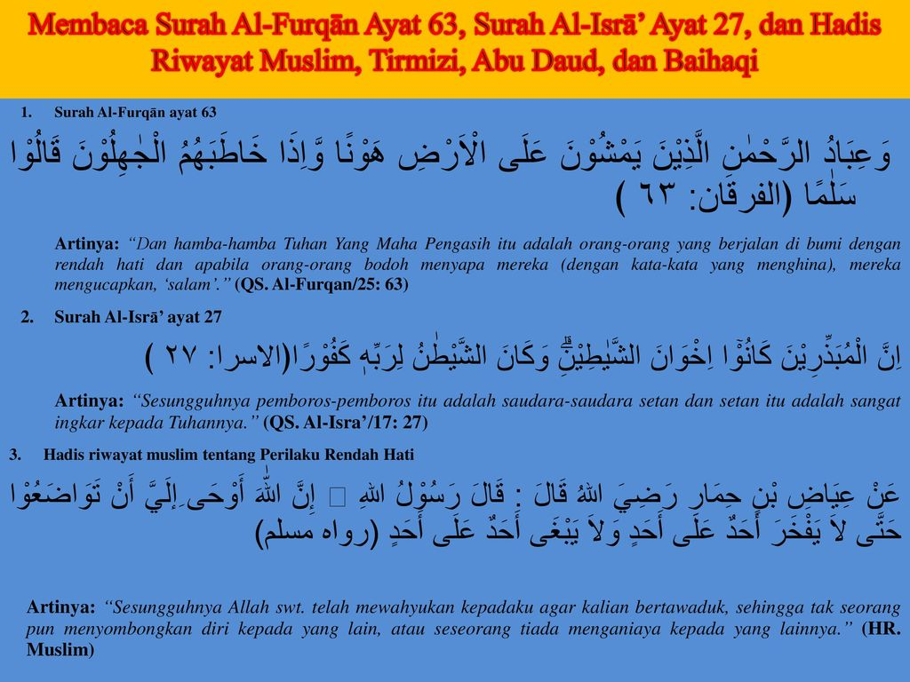 Membaca Surah Al-Furqān Ayat 63, Surah Al-Isrā' Ayat 27, dan Hadis Riwayat Muslim, Tirmizi, Abu Daud, dan Baihaqi