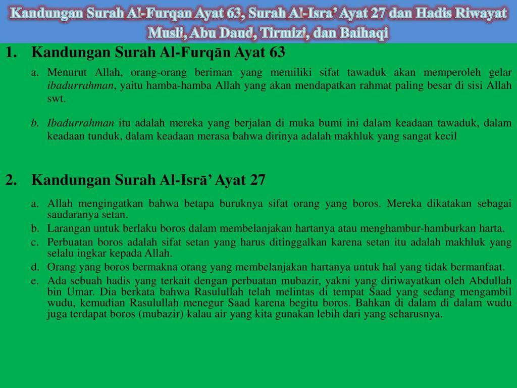 Kandungan Surah Al-Furqān Ayat 63