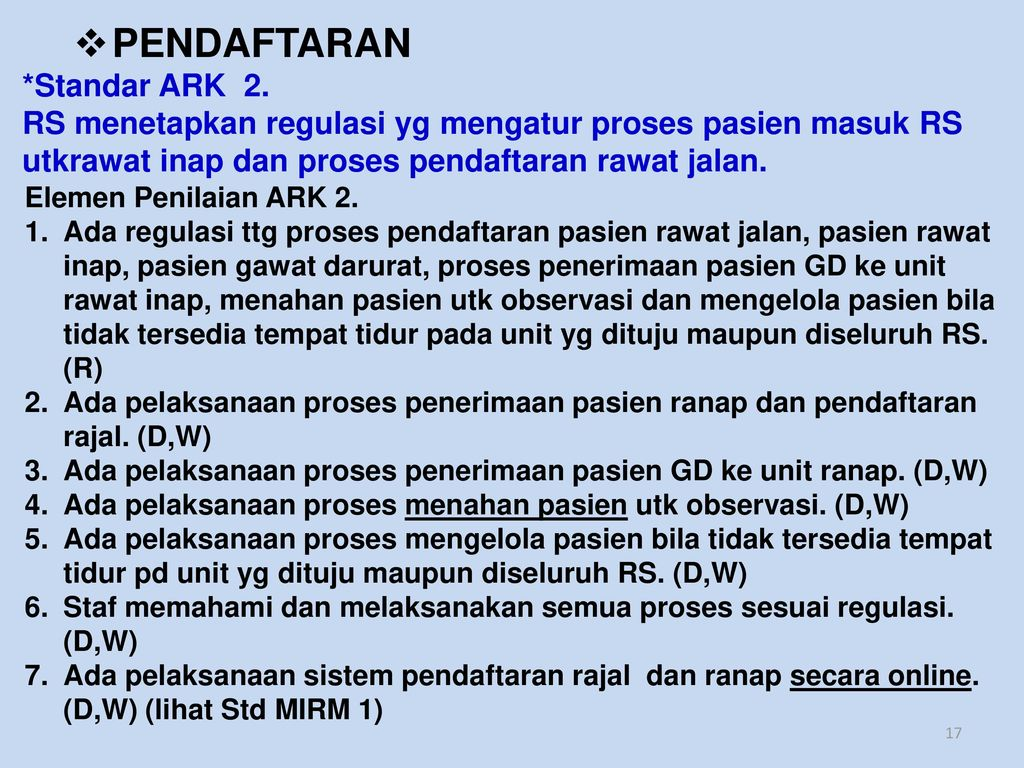 PENDAFTARAN *Standar ARK 2.